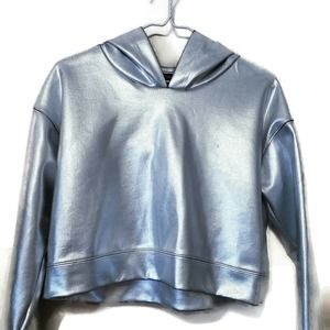 Forever 21 women's SILVER cropped hoodie MEDIUM
